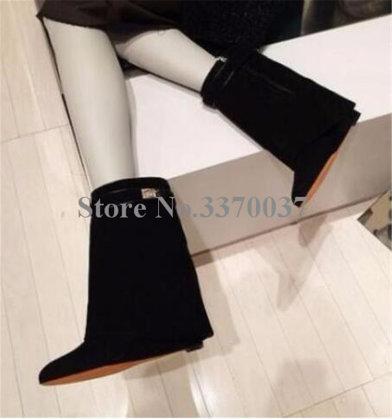 Hot Selling Women Mid-calf Metal Shark Lock Decoration Boots Middle Boots Wedge Heel Height Increasing Shoes Fold Over Boots stylish buckles and fold over design women s mid claf boots