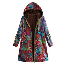 Fashion New Womens Winter Warm Coat Outwear Floral Print Hooded Pockets Vintage Oversize Coats Jacket Outwear