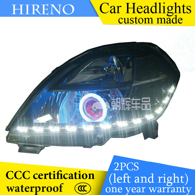 Hireno custom Modified Headlamp for Nissan Altima teana 2004-07 Headlight Assembly Car styling Angel Lens Beam HID Xenon 2 pcs hireno headlamp for cadillac xt5 2016 2018 headlight headlight assembly led drl angel lens double beam hid xenon 2pcs