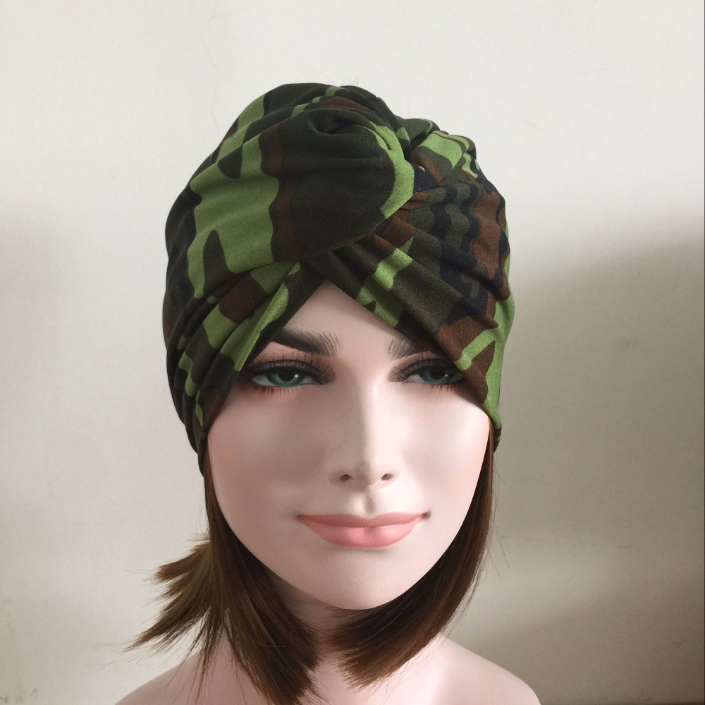 Camouflage Headband Girl Feather Pattern Elastic Hair Band Muslim Leopard Turban Hair Accessory Romantic Maple Leaves Bandanas metting joura vintage bohemian ethnic tribal flower print stone handmade elastic headband hair band design hair accessories
