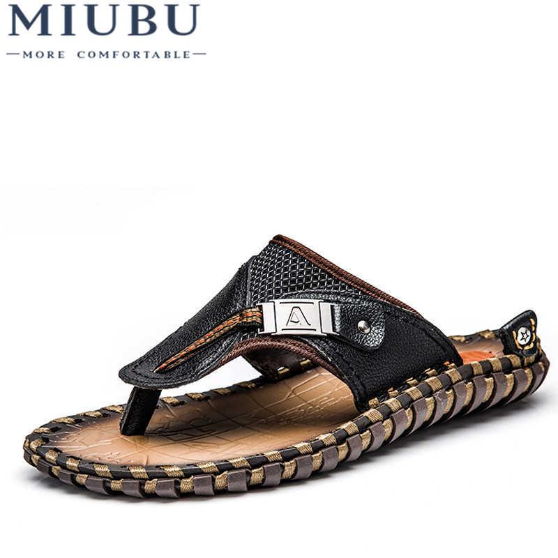 feb8fe178 MIUBU Luxury Brand New Men s Flip Flops Genuine Leather Slippers Summer  Fashion Beach Sandals Shoes For
