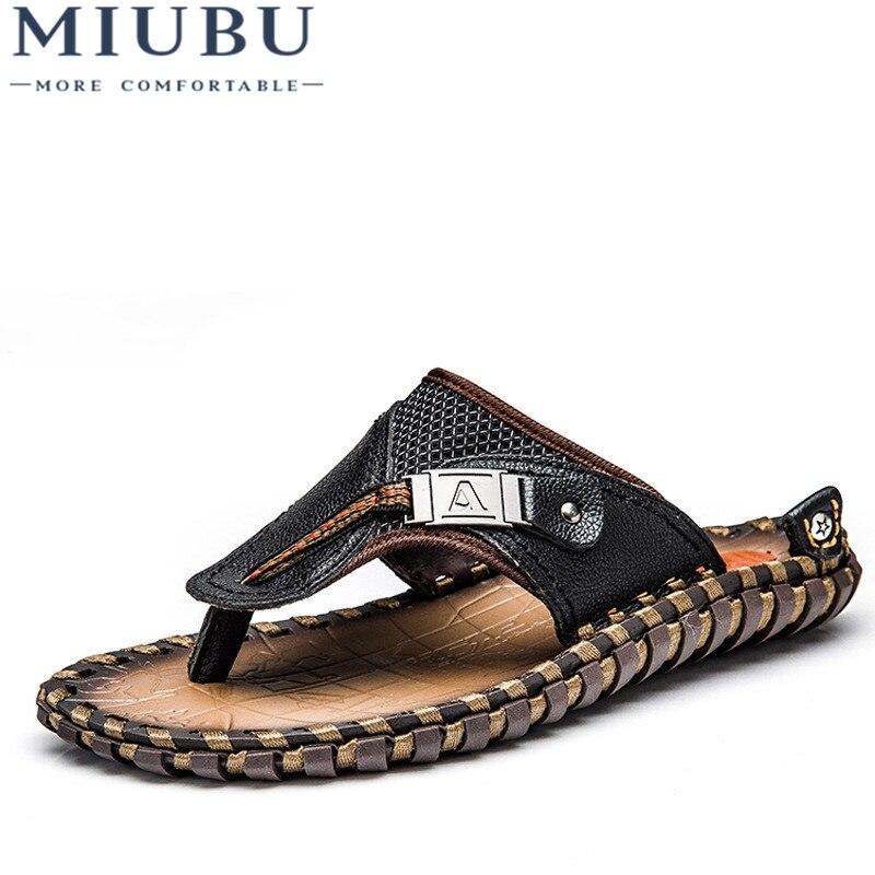 Miubu lujo hombres a estrenar Flip Flops Cuero auténtico Zapatillas verano moda playa Sandalias Zapatos para hombres tamaño grande 45