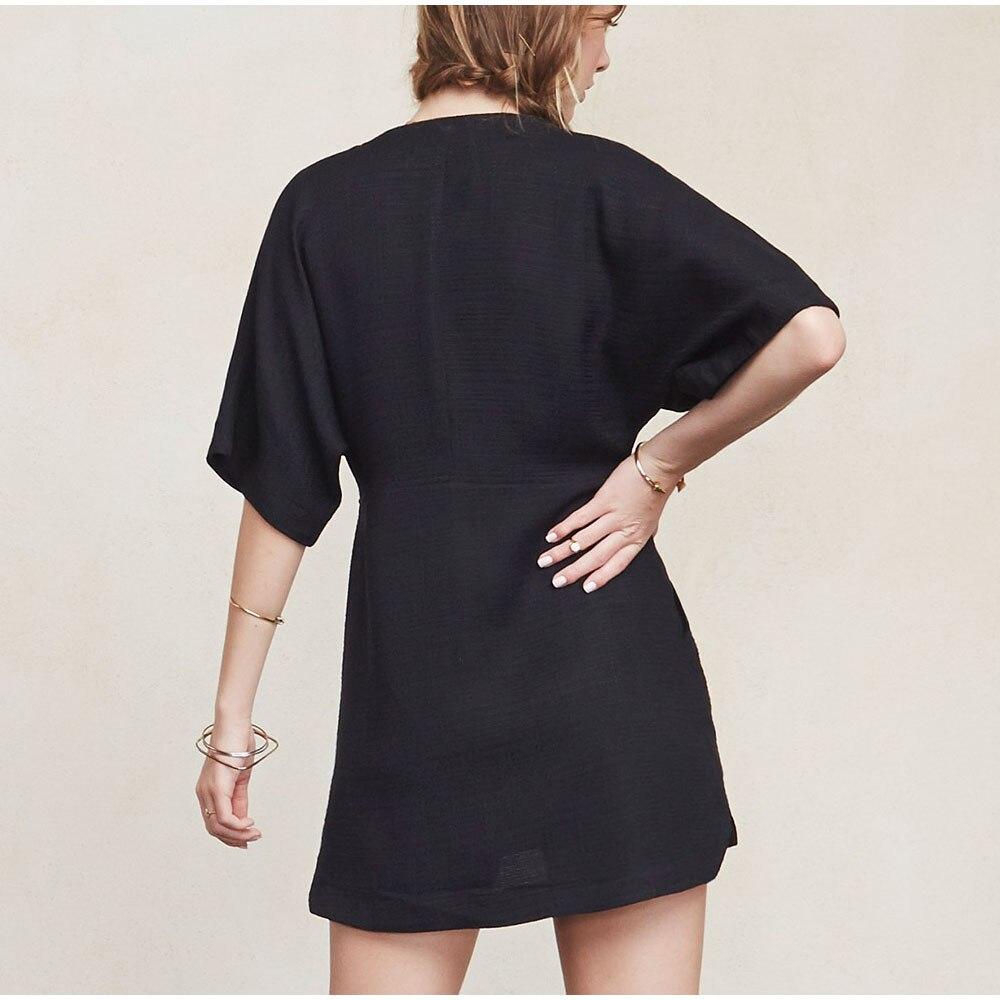 AEL мини-платье из хлопка и льна, свободная Летняя женская одежда с глубоким v-образным вырезом Femme, Повседневная пикантная элегантная уличная одежда высокого качества