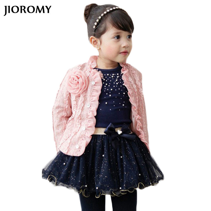 JIOROMY Girls Coat Jacket Long Sleeve T-Shirt Plus Skirt 3pcs Set Children's Cardigan Pearl Sequin Puff Pink Flower Tutu Suits 3 color red pink blue cherry cardigan coat