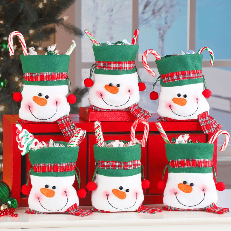 Decoration Christmas Supplies Christmas Snowman Bunch Candy Bag Christmas Snowman Gift Bag Holiday Party Supplies Candy Children