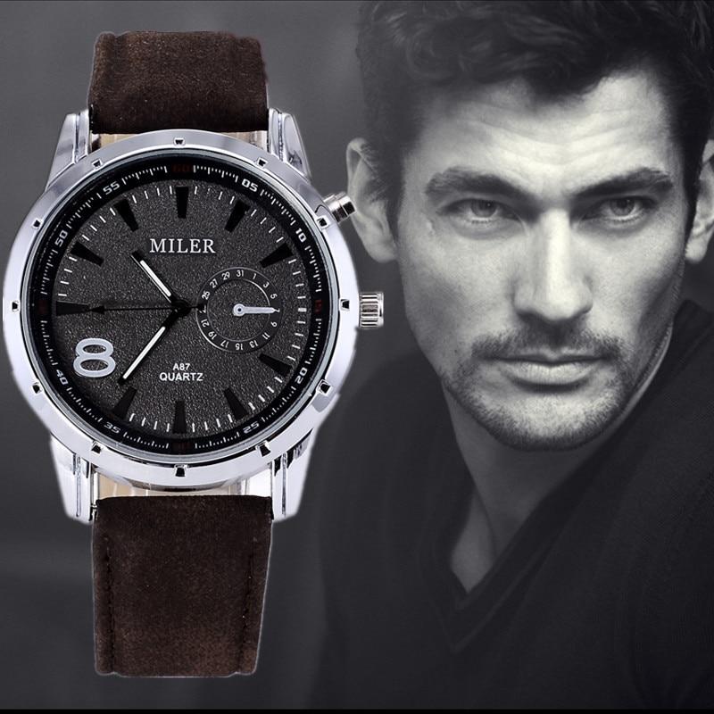 MILER Mens Watches Top Brand Luxury Wrist Watch Men Watch Fashion Leather Sport Men's Watch Men Clock relogio masculino цена