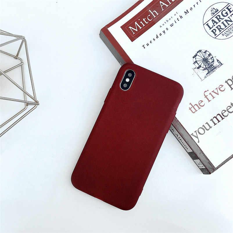 無地かわいい電話ケース XS 最大 XR 6 S 6 S 7 8 プラス X 5 SE 5 S Red Black ソフトシリコーンシンプルなファッション裏表紙
