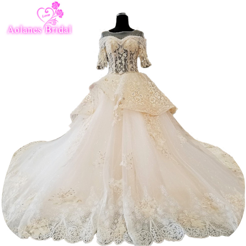 2018 Vestido De Noiva Short Sleeves Ivory Tulle Scoop Wedding Gowns Royal Train Ball Gown Backless  Wedding Dress Trem Mariage