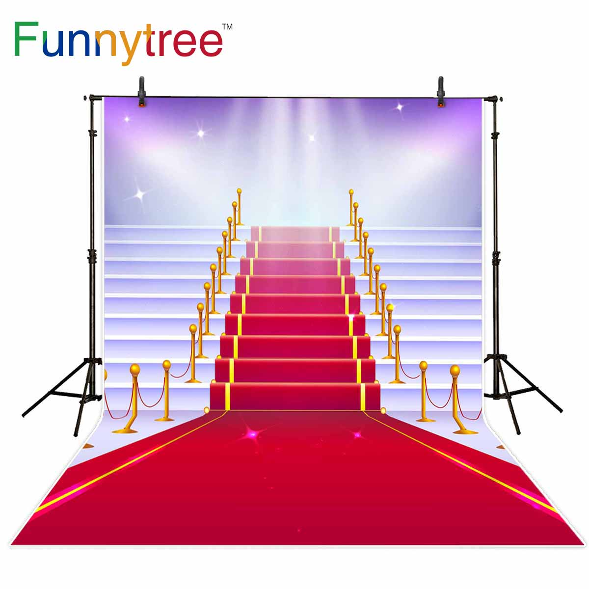 Funnytree background for photo golden Red carpet White stairs spotlight birthday party photocall wedding backdrop photography