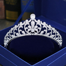 New Fashion elegant Paved crystal CZ Crown Cubic Zircon palace Tiaras Wedding bride banquet dressing Hair Jewelry free shipping