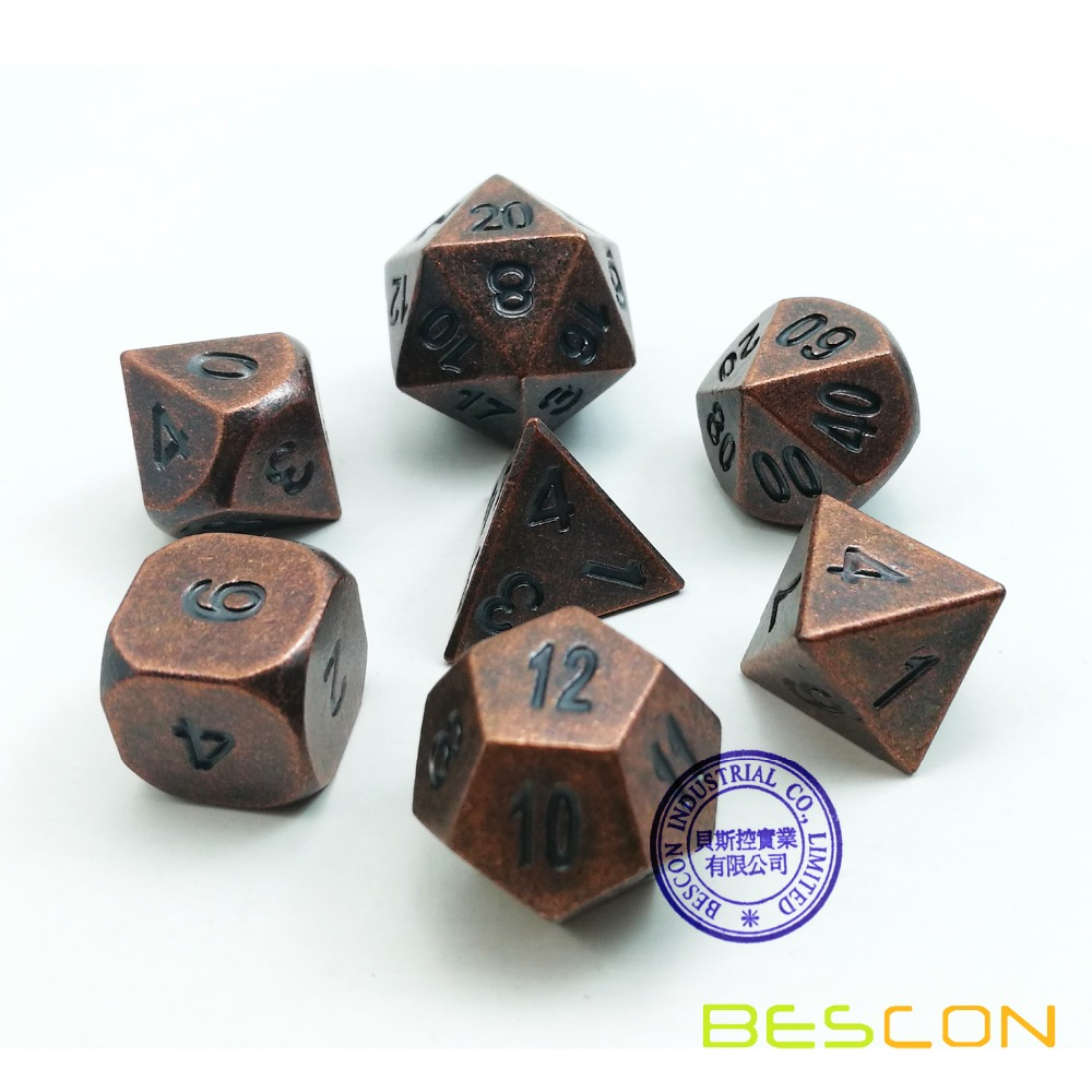 Us 158 Bescon Antique Copper Solid Metal Polyhedral Dd Dice Set Of 7 Old Copper Metal Rpg Role Playing Game Dice 7pcs Set In Strategy Games From