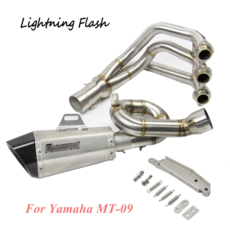 For Yamaha MT-09 Full Exhaust System Modified Stainless Steel Front Link Pipe + 51 mm Exhaust Muffler Pipe Tail Escape Slip On