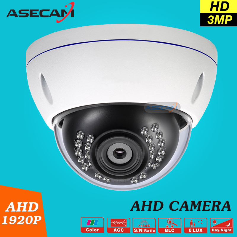 New Product 3MP HD Full 1920P Security Camera White Vandal-Proof Metal Indoor Dome IR Day/night CCTV Surveillance AHD Camera new super hd 3mp 1920p ahd camera cctv white metal dome home security video surveillance waterproof ir night vision vandal proof