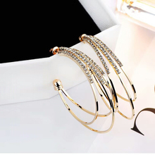 цены 2019 Classic Gold Hoop Earrings Big Round Loop Copper Earring with Rhinestone Wedding Party Gift For Women Girls Fashion Jewelry