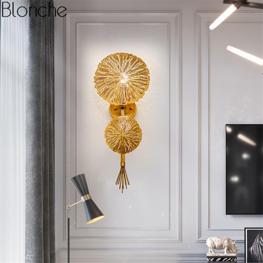 Nordique Or Lotus Feuille Applique Miroir Led Applique Murale pour Chambre Cuisine Escalier Maison Luminaires Décor Industriel Luminaire
