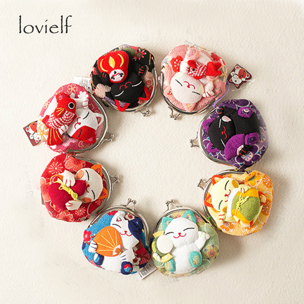 Hot!! Japanese style Super cute Small Creative High quality Cartoon Fortune Cat Coin Pocket Kid Children Coin Purse Wallet Gift