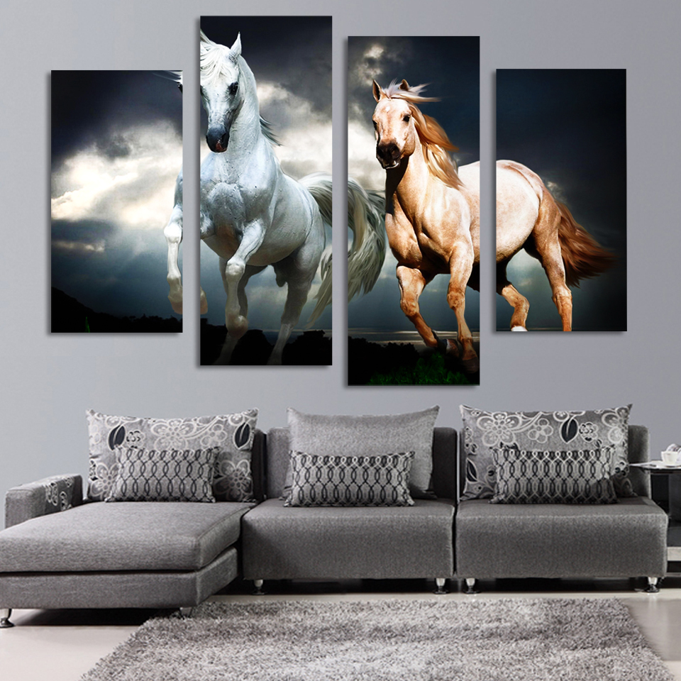 Horse sticker wall art - 4 Pieces Set Wall Art Pictures For Living Room Runing Horses Modular Canvas Oil Print