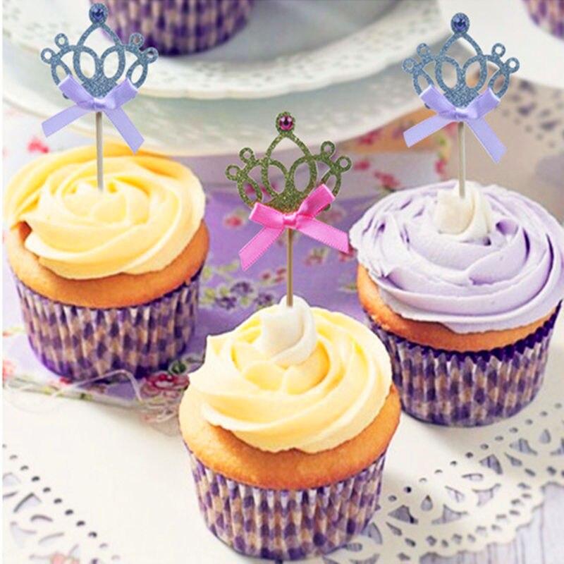 10 pcs/lot dessin animé chapeau bébé garçon fille 1st fête d'anniversaire jouets accessoire or/argent princesse couronne décoration de gâteau enfants cadeau (lot de 10)
