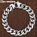 Davieslee Matte Polished Mens Bracelet Curb Cuban Link Chain 316L Stainless Steel Bracelet 14.5mm DHBM109