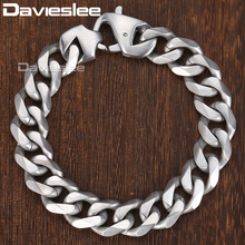 Davieslee Matte Polished Mens Bracelet Curb Cuban Link Chain 316L Stainless Steel Bracelet 15 mm DHBM109