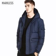 Markless Зимний пуховик Мужская брендовая одежда 90% белый утиный пух Толстая теплая ветрозащитная парка с капюшоном зимнее пальто YRA5316