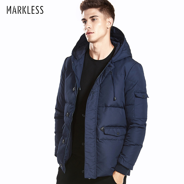 b8b5499ebf9 Markless 2018 Winter Down Jackets Men Brand Clothing 90% White Duck Down  Thick Warm Windproof Parka Hooded Winter Coat YRA5316