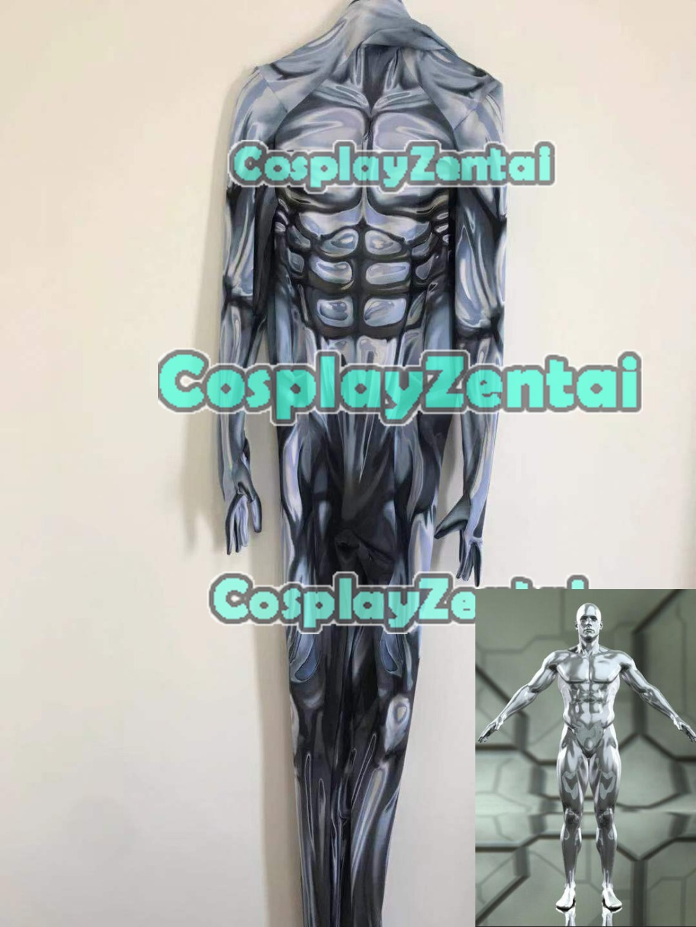 3D Printed Silver Surfer Cosplay Costume Lycra Spandex Zentai Silver Surfer suit Halloween Costume Custom Made Only Bodysuit