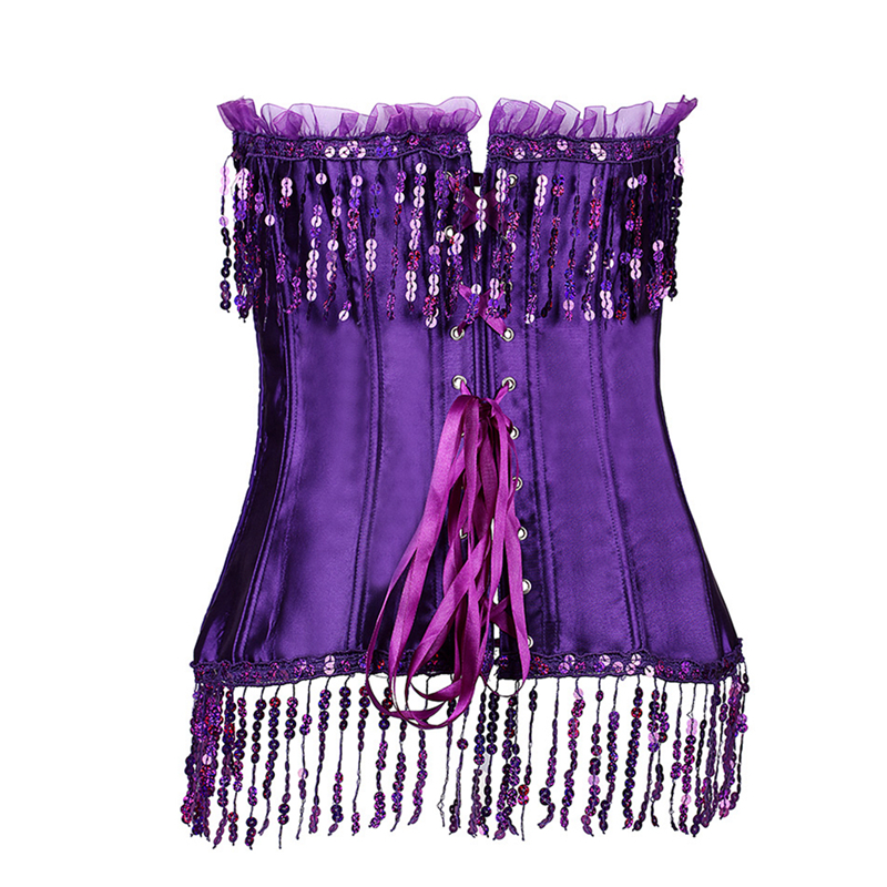 5f62897001 2019 Sequin Corsets Bustiers Top Set Women Sexy Bustiers Steampunk ...