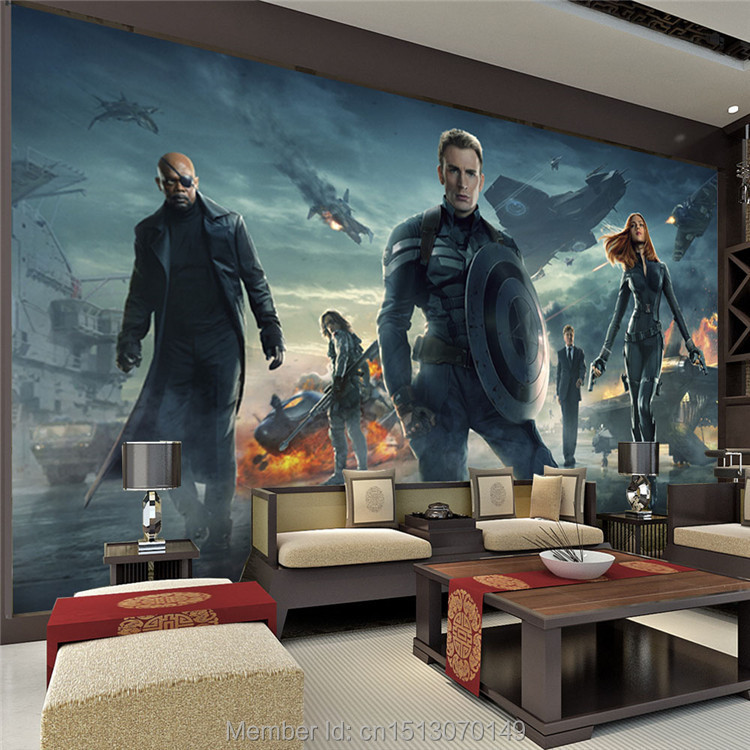 Superhero Bedroom Wallpaper Bedroom Accessories Bedroom Ideas Young Couple Bedroom Furniture Floor Plan: The Avengers Wall Mural Captain America & Black Widow