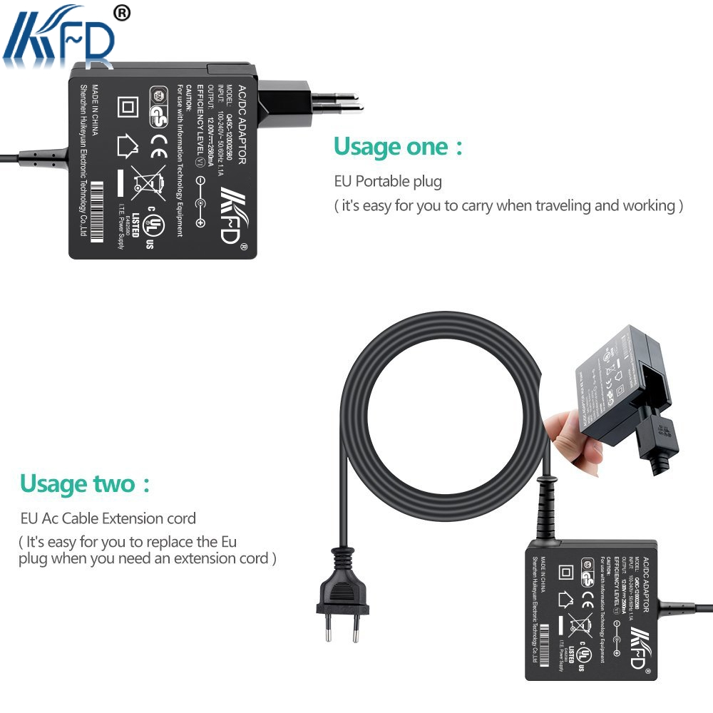 TUV GS Listed KFD 12V 2.58A 36W max AC Adapter for Surface Pro 3 Pro 4 i5 i7 P/N Model 1625 Tablet EU/US/UK Plug