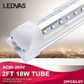 LEDVAS 18W T8 integrate V-Shaped led tube 2ft 60cm Cooler Door Double Sides SMD2835 Led Fluorescent Lights 600mm 0.6m AC85-265V