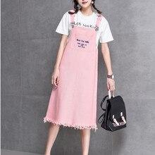 MISSFEBPLUM, джинсовое платье, вышитая подвеска с буквами, для женщин, лето, Harajuku, милые джинсовые платья на бретелях, сарафан, джинсовые комбинезоны