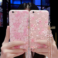 Newest sweet bling rhinestone cherry blossom flowers TPU Phone Case for iphone 6 6s 7 plus diamond clear back cover with lanyard