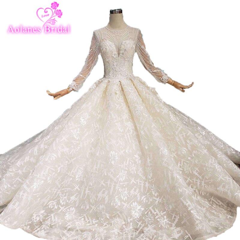 Длинные рукава Свадебный букет Boho Дубай арабское свадебное платье Свадебные Кружева Vestido De Noiva 2019 мусульманское свадебное платье бальное пл
