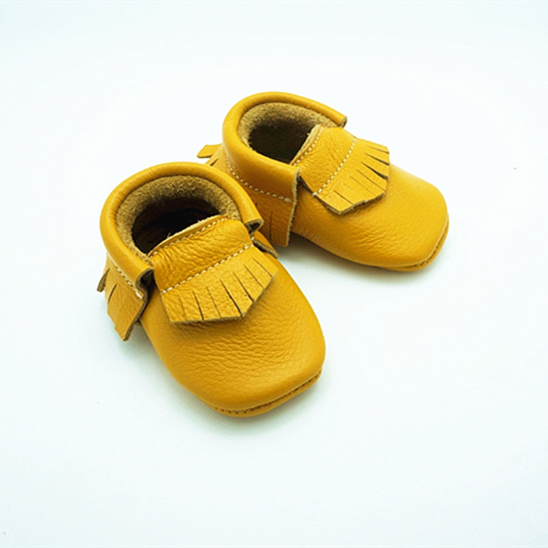 Genuine Leather Baby Moccasins Fringe And Bow Soft Bottom Baby Shoes First Walkers Chaussure Bebe Newborn Boys Shoes