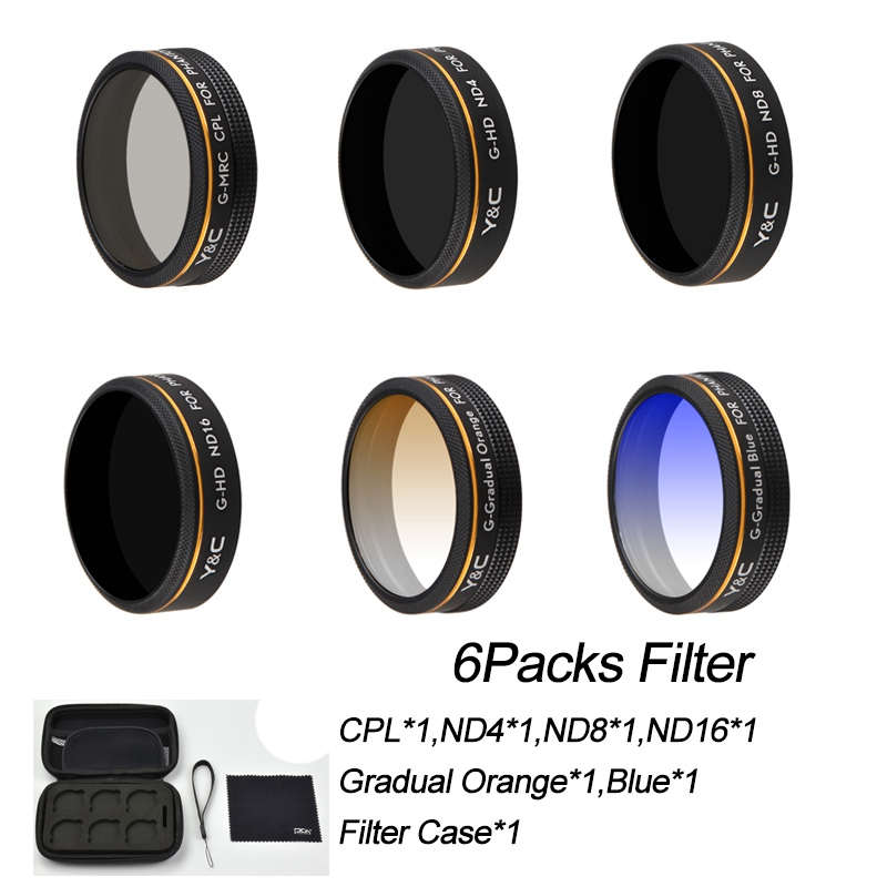 6 PCS Lens Filter for DJI Phantom 4 Pro 4A P4P,CPL Circular Polarizer Lens,ND4/ND8/ND16,Gradual Gray and Orange,Portable Case nd4 dimmer cpl polarizer nd8 dimmer mcuv lens filter lens cover for dji phantom 3 with camera