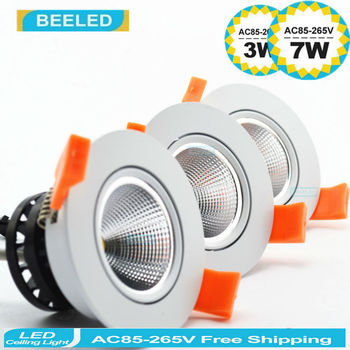 3W 5W 7W 3pcs lot Dimmable LED COB chip downlight dimmer Recessed white led lamp epistar LED Ceiling light Spot Light Lamp bulb 60d 1w led downlight recessed led ceiling light 1w spot light lamp white warm white led lamp epistar 1wx6pcs chip free ship