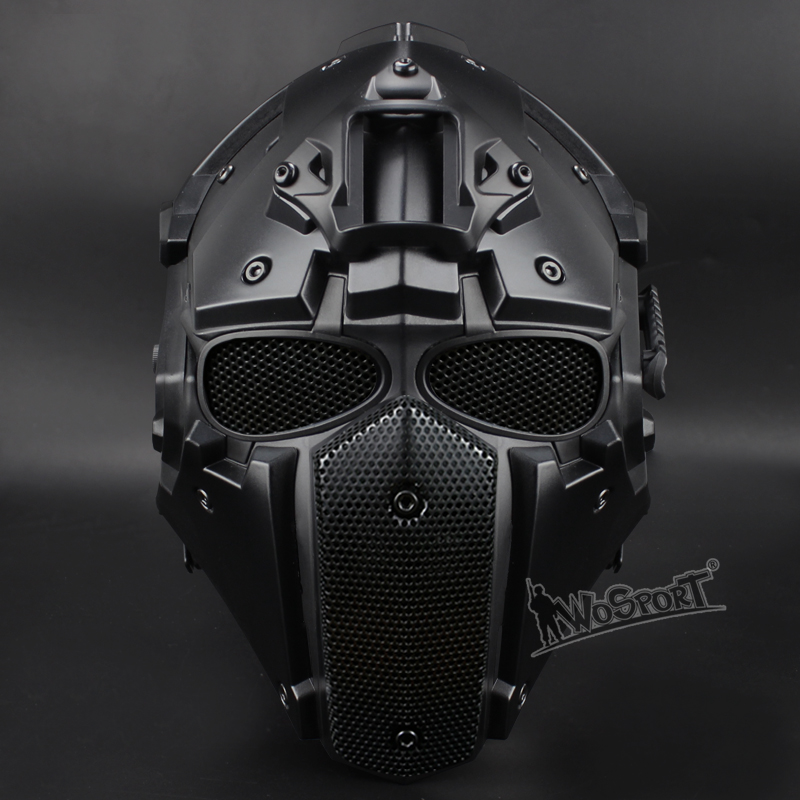 WoSporT Full Face Motorcycle Tactical Airsoft Paintball BB Military Breathable Adjustable Helmet with Mask Goggles and Fan купить