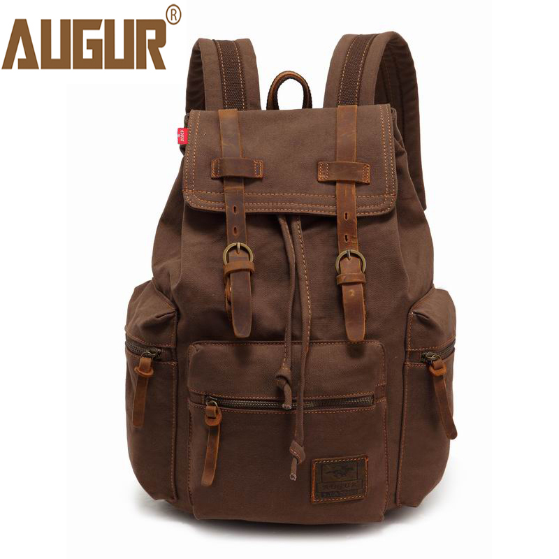 2017 AUGUR New Fashion Men's Backpack vintage canvas back to school bag men's travel bags large capacity travel backpack bag bobo bird wh11 brand design bamboo wooden watches for women men wood dial quartz watch leather grain band in wood box gift oem