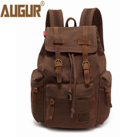 AUGUR Vintage Canvas Backpack For Male Female Travel Casual Leather Bacpacks Shoulder School Bag 14 Inch