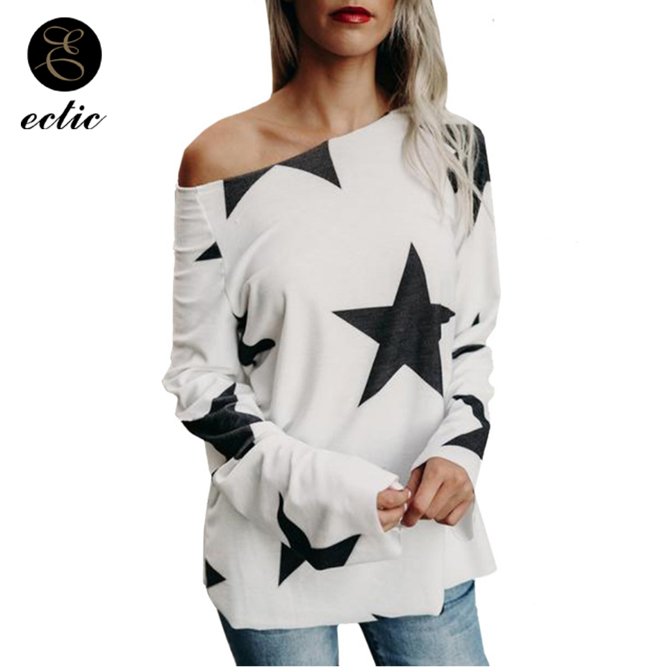 One Off Shoulder Star Print Streetwear Tops Women Shirt Harajuku Hipster Blusas Plus Size Tunic Long Sleeve Pullover Oneck Loose