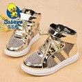 2016 BABAYA Весенняя мода пряжка серебряный золотой младенческой плоского Детская школа тенис девушка высокие кроссовки детей мальчик бренда casual shoes