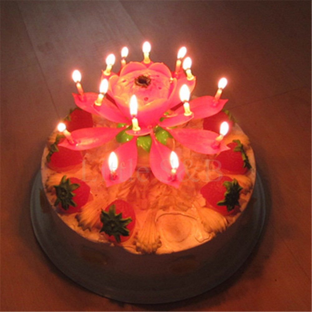 Musical Lotus Flower Flame Happy Birthday Sparkler Cake Party Gift Lights Decoration 8 14 Candles Lamp Surprise In From Home Garden On