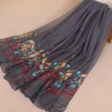 MSAISS осенний Вышитый цветочный женский шарф Винтажный Классический женский хлопковый головной убор мусульманский большой шарф