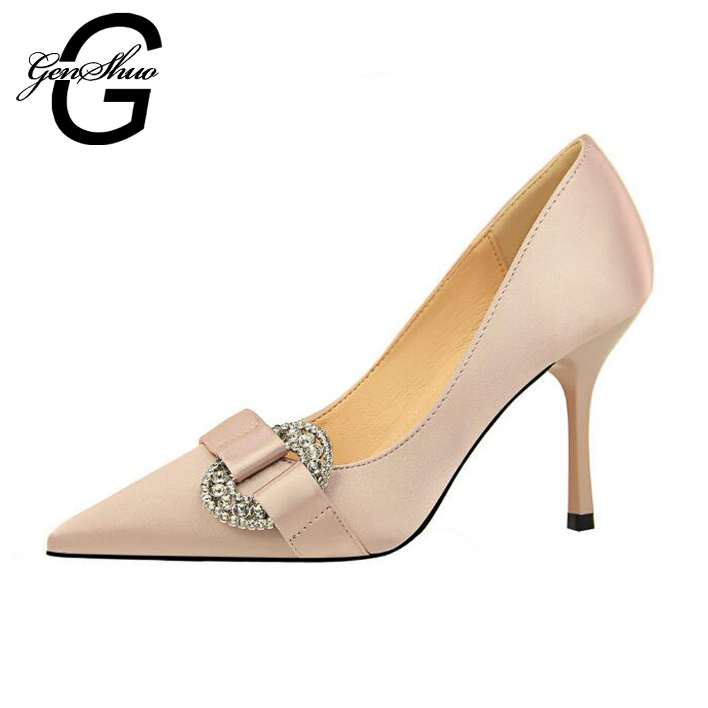 GENSHUO Women High Heels Shoes Pumps Crystal Buckle Stiletto Ladies Shoes Pointed Toe Party Wedding Shoes Women Shoes Prom Heels luxury brand crystal patent leather sandals women high heels thick heel women shoes with heels wedding shoes ladies silver pumps