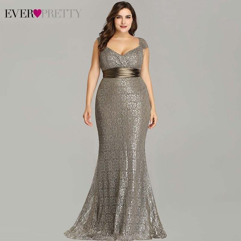 Vestidos De Fiesta 2020 Ever Pretty New Elegant Mermaid V Neck Sleeveless Lace Prom Dresses Plus Size Party Gown Robe De Soiree