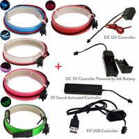 1 M cinta electroluminiscente Flexible colorida EL alambre brillante con DC 12 V 3 V sonido activado 5 V USB inversor el controlador de cinta