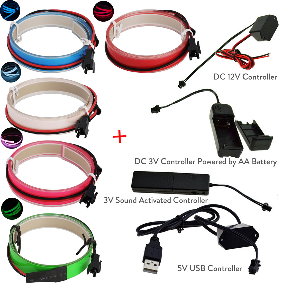 1M Colorful Flexible Electroluminescent Tape EL Wire Glowing With DC 12V 3V Sound Activated 5V USB Inverter el tape Controller1M Colorful Flexible Electroluminescent Tape EL Wire Glowing With DC 12V 3V Sound Activated 5V USB Inverter el tape Controller