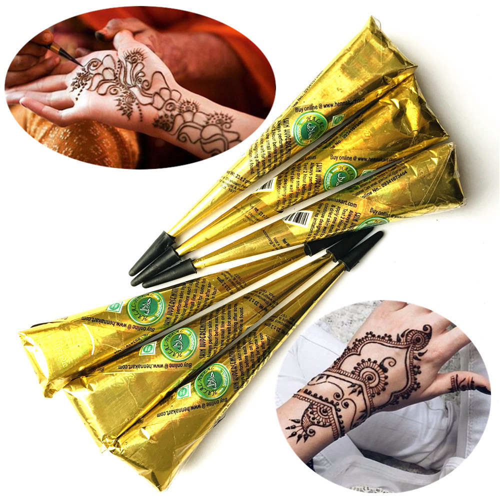 Henna Tattoo Color Brown: 6PC/LOT Henna Tattoo Paste Cones Brown Ink Color Indian