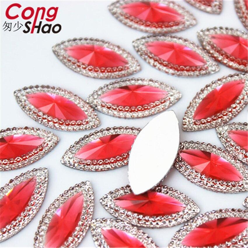 Купить с кэшбэком Cong Shao 100PCS 11*24mm Flatback stones and crystals Resin Marquise Shape Rhinestone trim DIY Wedding Dress Button Crafts YB471